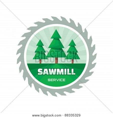 Sawmill service - vector logo design illustration in flat style.