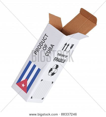 Concept of export opened paper box - Product of Cuba poster