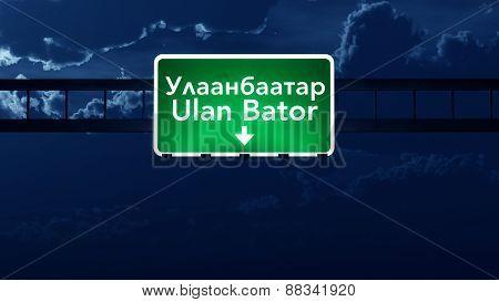 Ulan Bator Mongolia Desert Highway Road Sign At Night