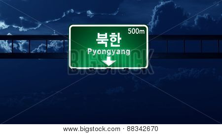 Pyongyang North Korea Highway Road Sign At Night