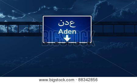 Aden Yemen Highway Road Sign At Night