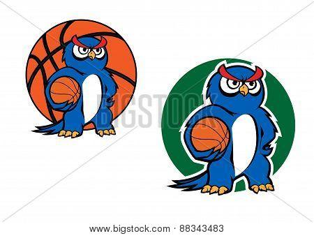 Cartoon blue owl character with basketball ball