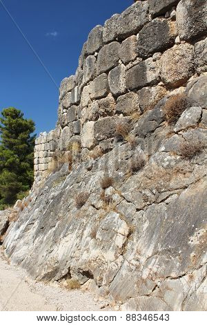 Wall Of Mycenae, One Of The Major Centers Of Greek Civilization, Peloponnese, Greece