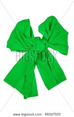 Silk Scarf. Green Silk Scarf Folded Like Bowknot