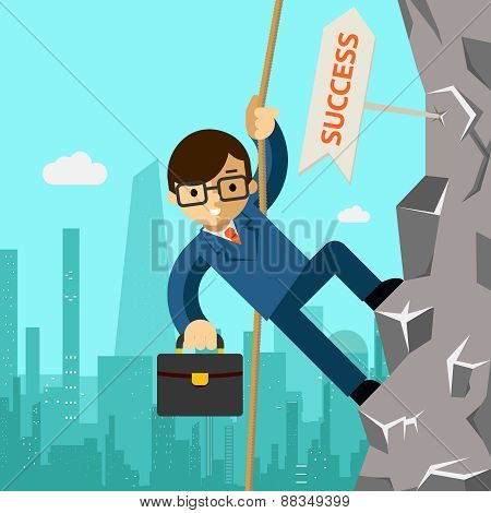 Way success. Businessman aspires to leadership