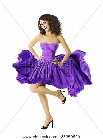 Woman Happy Dancing, Smiling Young Girl In Waving Dress, Joyful Model Glad Jumping, Fluttering Skirt