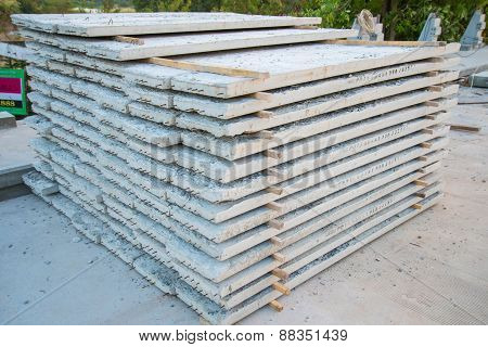 Slabs of concrete used in the construction of bridges poster
