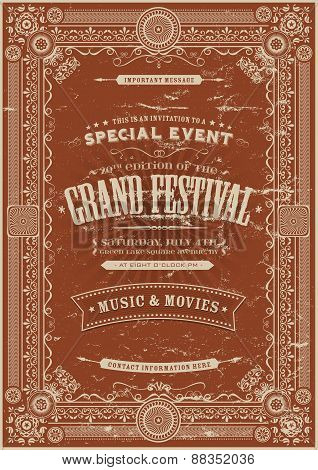 Vintage Retro Festival Poster Background