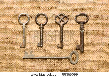 Five  Old Keys To The Safe On A Very Old Cloth