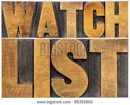 watchlist word abstract typography - isolated text in letterpress wood type