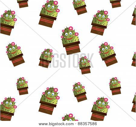 One seamless pattern with smiling cactus with face and flowers