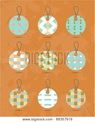 Set, group, collection of nine, round, isolated hanging tags, stickers with simple, romantic, seamle