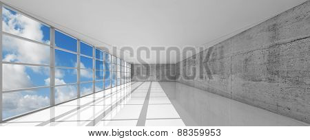 Empty White Open Space Interior With Windows, 3D