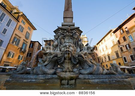 Fountain on the Piazza della Rotonda in Rome Italy. Frame photographed wide-angle lens poster