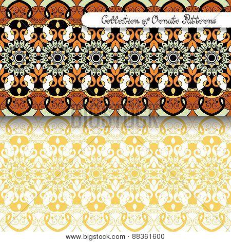 Set Of 2 Seamless Vintage Patterns (vector)