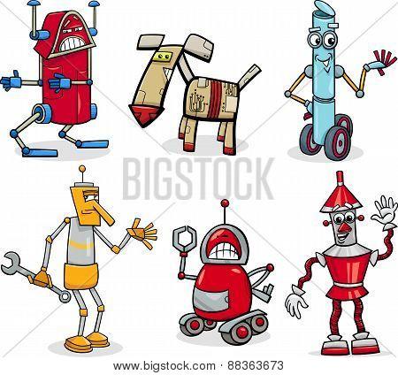 Robots Cartoon Illustration Set