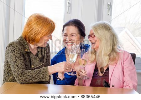 Happy Middle Age Moms Tossing Glasses Of Wine