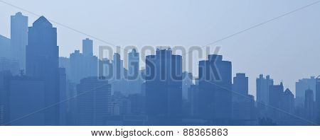 Silhouettes of skycrapers, blue tone