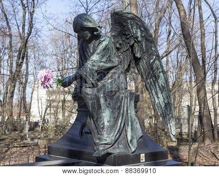 ST. PETERSBURG, RUSSIA - APRIL 18, 2015: Photo of Angel on tombstone General Mordvinova.
