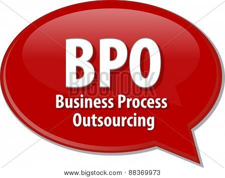 word speech bubble illustration of business acronym term BPO Business Process Outsourcing