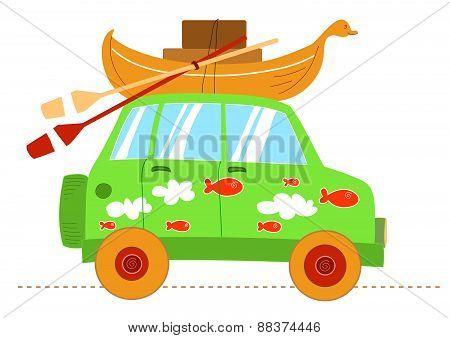 Cartoon humorous car