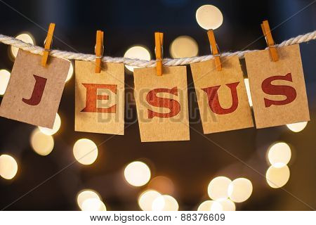 Jesus Concept Clipped Cards And Lights