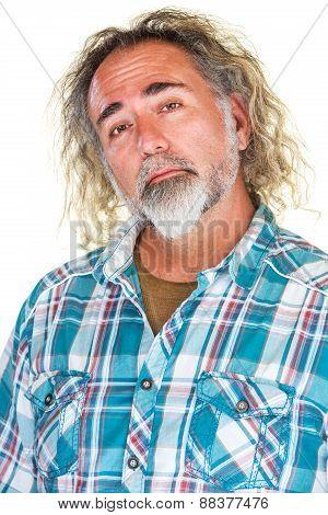 Proud Man In Flannel Shirt