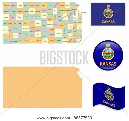 High Detailed Kansas Map and Flag Icons