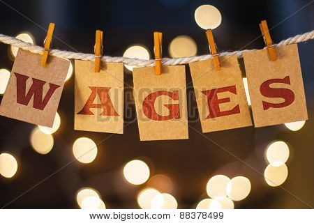 Wages Concept Clipped Cards And Lights