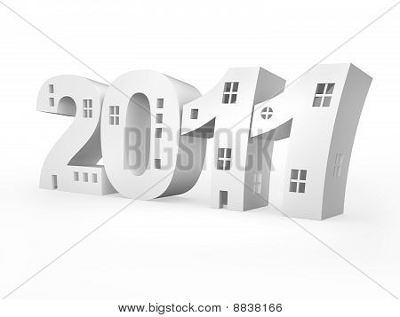 Iinscription 2011 Stylized As Building. Isolated On White