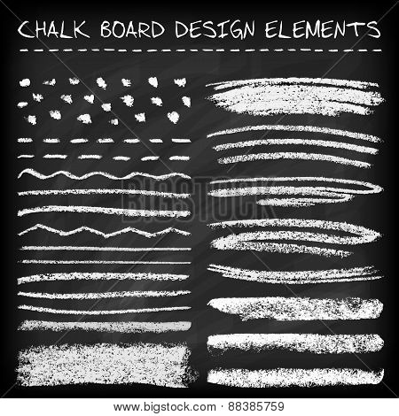 Set of chalk strokes.