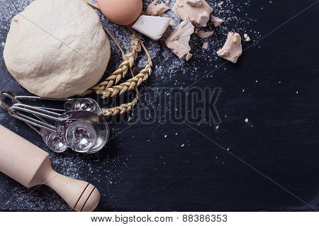 Dough On Slate  Background