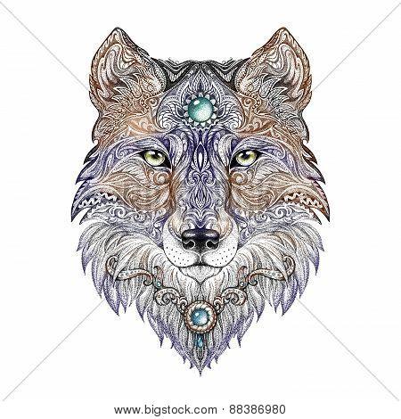 Tattoo Head Wolf Wild Beast Of Prey