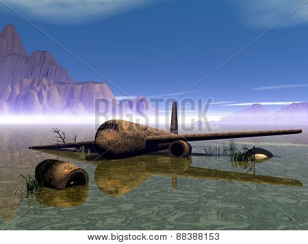 Aircrafts. Old airbus. Rusty aircraft in a swamp. Vector illustration. poster