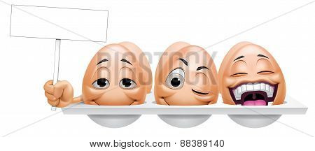 Cartoon Eggs Characters  Holding A Placard