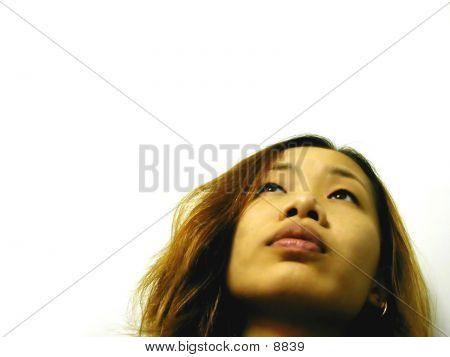 Worried Girl Looking Up