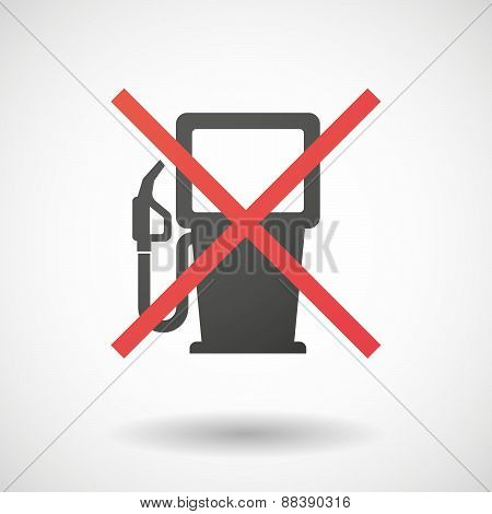 Not Allowed Icon With A Gas Station Sign