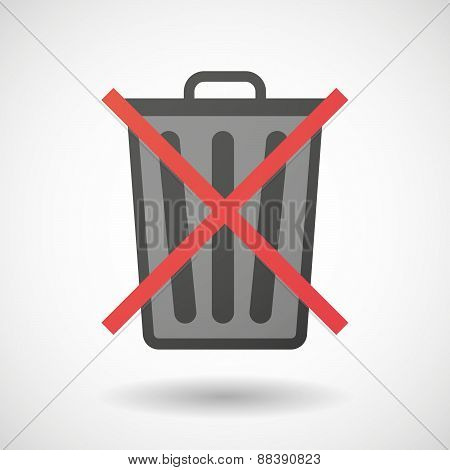 Not Allowed Icon With A Trash Can
