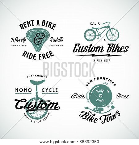 Set of Vector Retro Bicycle Custom and Rental Labels or Logo Templates