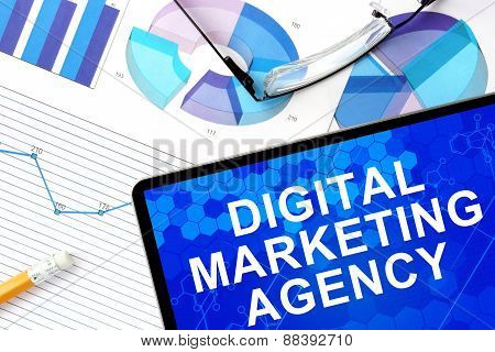 Tablet withdigital marketing agency.