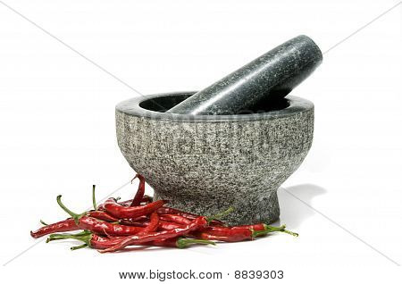 Chillies With Pestle And Mortar.