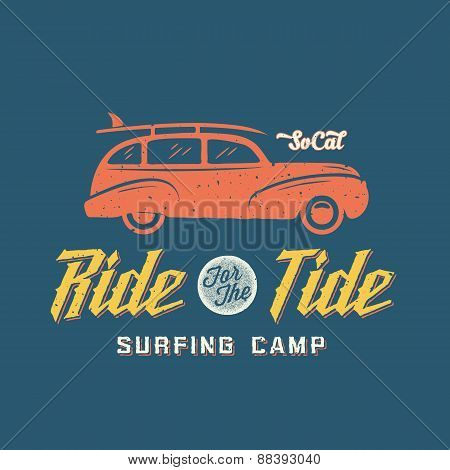 Surfing Woodie Car Retro Style Label or Logo Template