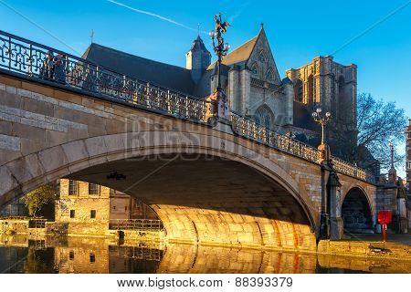 St. Michael Bridge at sunrise in Ghent, Belgium