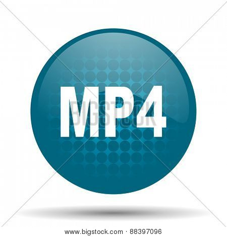 mp4 blue glossy web icon