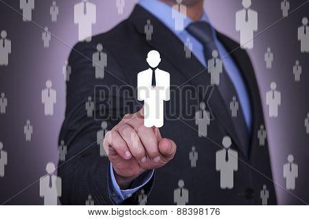 Businessman Choosing Touching Human