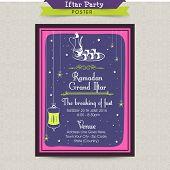 Beautiful Iftar party celebrations, Invitation card design in the Islamic holy month of prayers, Ramadan Kareem celebrations.  poster