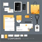 Stylish corporate identity kit for business including Letterhead, Envelope, Visiting Card, Identity Card, Tablet, Smartphone and stationery items. poster