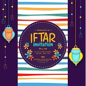 Beautiful invitation card design decorated with Arabic hanging lanterns and stars for holy month of Muslim community, Ramadan Kareem Iftar Party celebration. poster