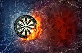 Dart board on fire and water with lightening around on abstract polygonal background. Horizontal layout with text space. poster