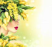 Beauty Summer model Girl with Flowers Hair Style. Spring woman. Beautiful lady with Blooming flowers on head. Nature Hairstyle. Summer. Holiday Creative Fashion Makeup. Make up. Vogue Style Portrait poster